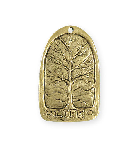 34x21mm Tree Of Life [Green Girl Studios] - 10K Gold Antique (1pc)