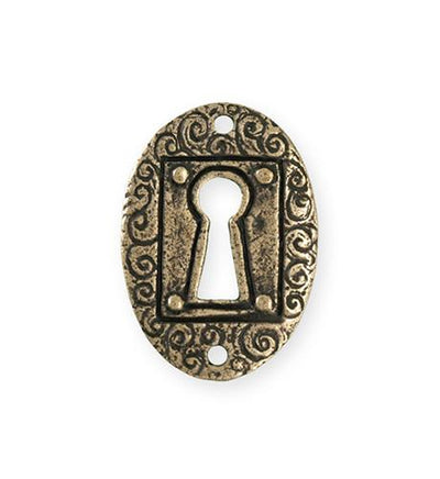 30.5x21.5mm Keyhole Coin [Green Girl Studios] - Bronze Antique (1pc)