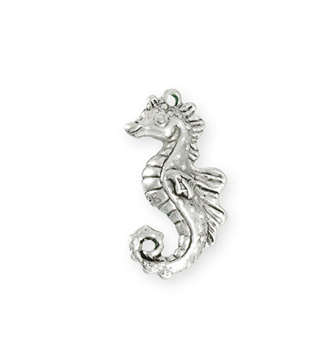 27x13.5mm Seahorse [Green Girl Studios] - Sterling Silver Antique (1pc)