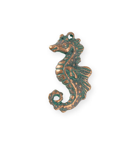 27x13.5mm Seahorse [Green Girl Studios] - Copper Verdigris (1pc)