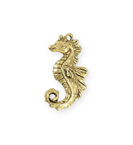 27x13.5mm Seahorse [Green Girl Studios] - 10K Gold Antique (1pc)