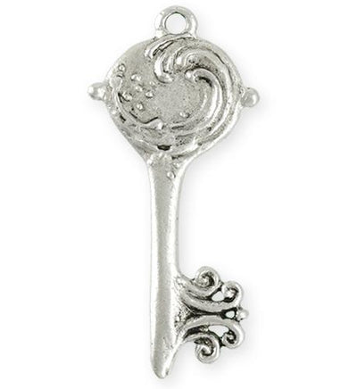 52x23mm Mermaid Key [Green Girl Studios] - Sterling Silver Antique (1pc)