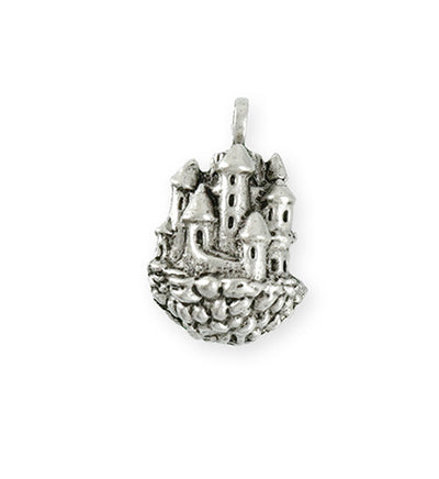 26x18mm Floating Castle [Green Girl Studios] - Sterling Silver Antique (1pc)
