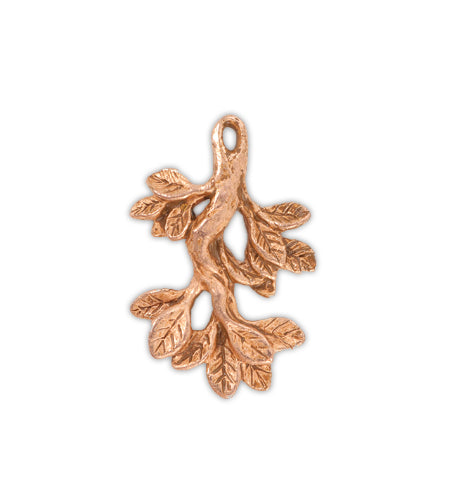 35x23mm, Leaf Branch [Green Girl Studios] - Rose Gold Antique (1pc)