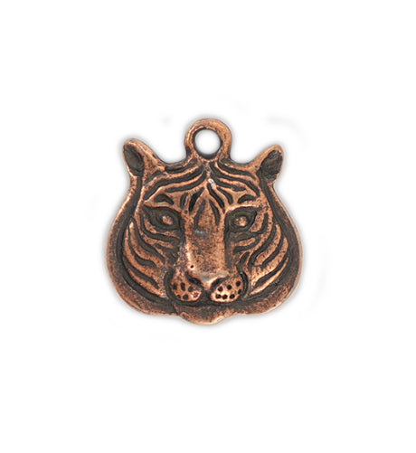 22x21mm, Tiger Face [Green Girl Studios] - Copper Antique (1pc)
