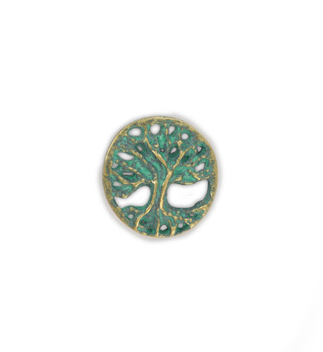 18mm, Tree [Green Girl Studios] - Brass Verde (1pc)
