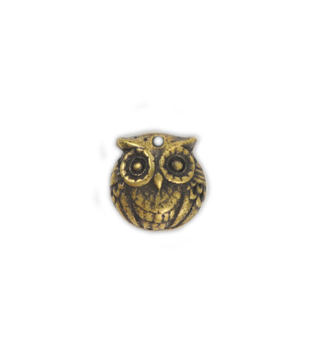 15mm, Owl [Green Girl Studios] - Brass Antique (1pc)