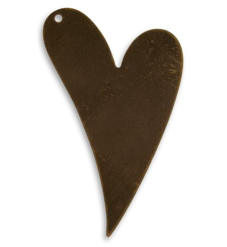 41x24mm Artisan Heart - Natural Brass (24 pcs)