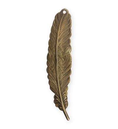 53x12mm Feather - Natural Brass (10pcs)
