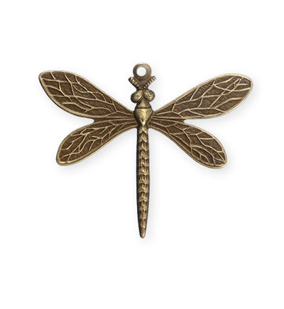 35x30mm Queen Dragonfly - Natural Brass (12 pcs)