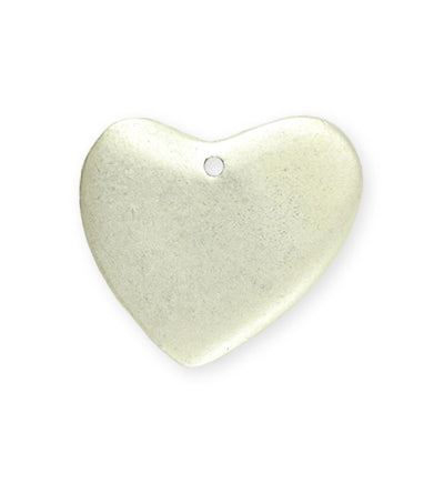 28x32mm  Asymm etrical Heart Blank - Sterling Silver Antique Plated (5 pcs)