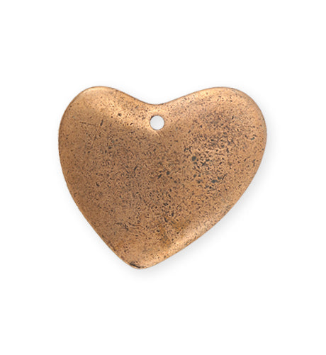 28x32mm  Asymm etrical Heart Blank - Copper Antique Plated (5 pcs)
