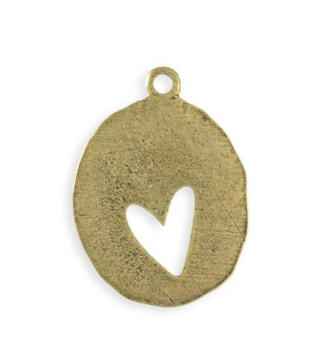 36x26mm Organic Oval Heart Blank - Brass Antique Plated (4 pcs)