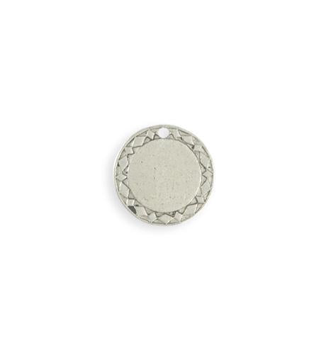 15mm Diamond Circle Blank - Sterling Silver Antique Plated (8 pcs)