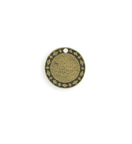 15mm Diamond Circle Blank - Brass Antique Plated (8 pcs)