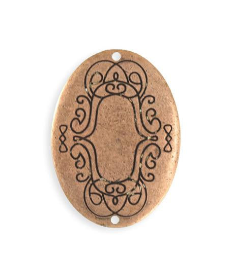 36x26mm  Scrolled Border Oval Blank - Copper Antique Plated (4 pcs)