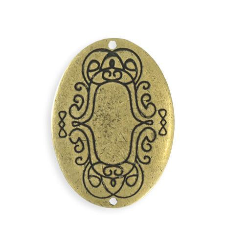 36x26mm  Scrolled Border Oval Blank - Brass Antique Plated (4 pcs)
