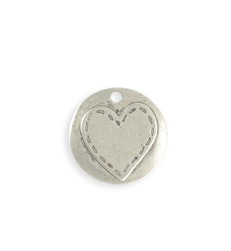 20mm Stitched Heart Blank - Sterling Silver Antique Plated (5 pcs)