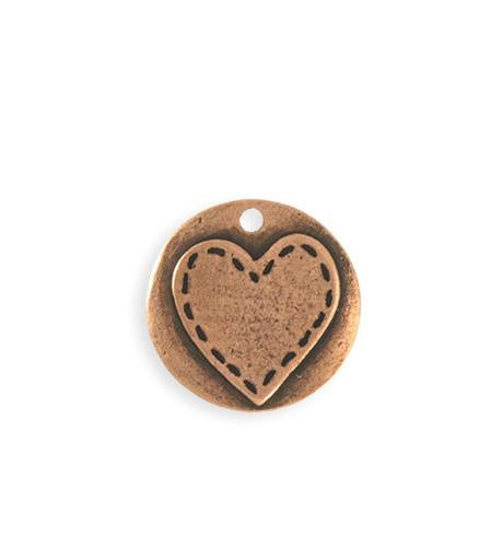 20mm Stitched Heart Blank - Copper Antique Plated (5 pcs)