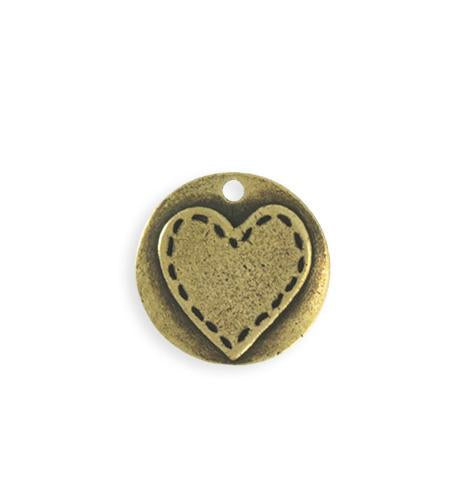20mm Stitched Heart Blank - Brass Antique Plated (5 pcs)
