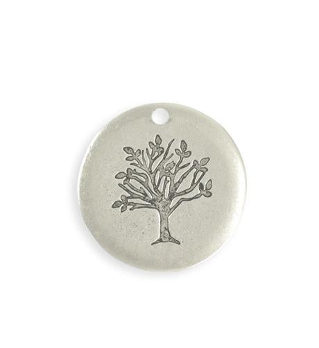 25mm Family Tree Blank - Sterling Silver Antique Plated (4 pcs)