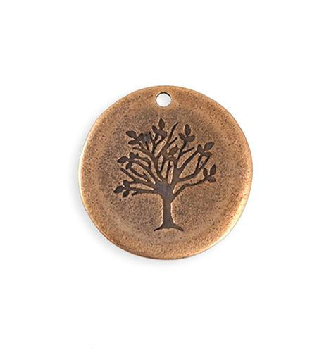 25mm Family Tree Blank - Copper Antique Plated (4 pcs)