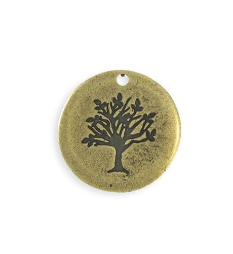 25mm Family Tree Blank - Brass Antique Plated (4 pcs)