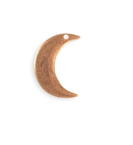 23x19mm Crescent Moon Blank - Copper Antique Plated (6 pcs)