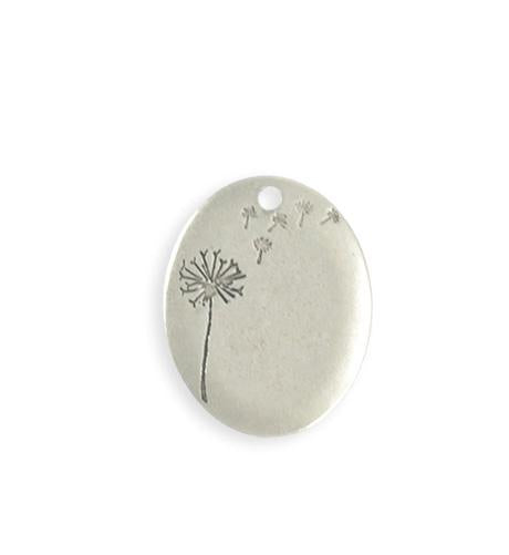 25x20mm  Drifting Dandelion Blank - Sterling Silver Antique Plated (4 pcs)