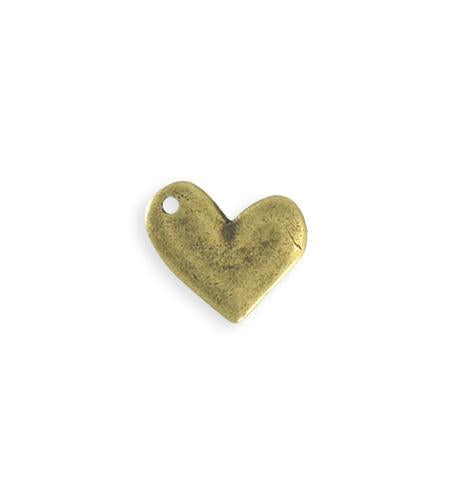 17x15mm Asymmetrical Heart Blank - Brass Antique Plated (8 pcs)