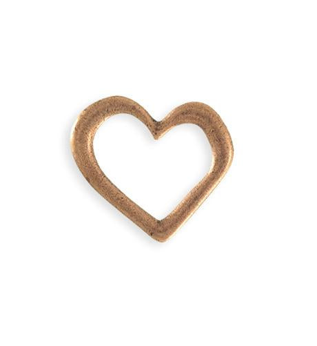 22x23mm Asymmetrical Heart Ring Blank - Copper Antique Plated (6 pcs)