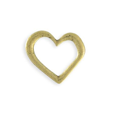 22x23mm Asymmetrical Heart Ring Blank - Brass Antique Plated (6 pcs)