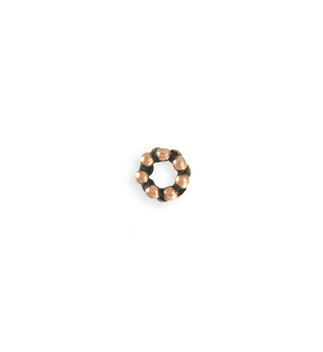 8mm Dotted Spacer - Copper Antique Plated (25pcs)