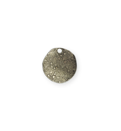 14mm Dotted Dapped Circle - Pewter Antique Plated (8 pcs)