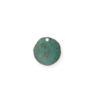 14mm Dotted Dapped Circle - Copper Verdigris Plated (8 pcs)