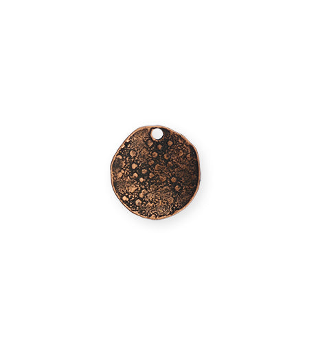 14mm Dotted Dapped Circle - Copper Antique Plated (8 pcs)