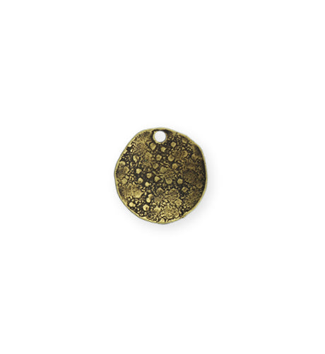 14mm Dotted Dapped Circle - Brass Antique Plated (8 pcs)