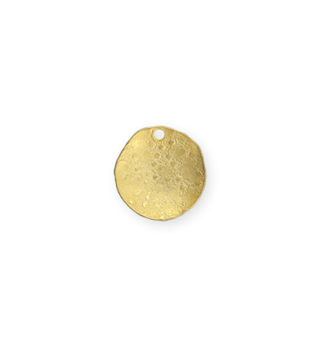 14mm Dotted Dapped Circle - 10K Gold Plated (8 pcs)