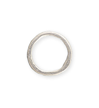 23mm Heavy Hammered Ring - Sterling Silver Plated (6 pcs)