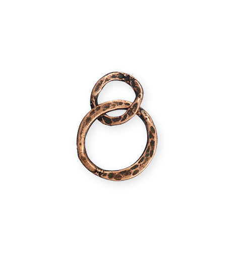 24x17mm Linked Hammered Rings - Copper Antique Plated (8 pcs)