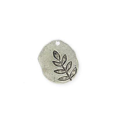 19x17mm, Impressed Fern - Artisan Pewter (3pcs)