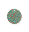 26mm, Weathered Compass - Copper Verdigris Plated (3pcs)