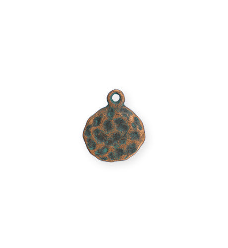 14mm Hammered Circle - Copper Verdigris Plated (8 pcs)