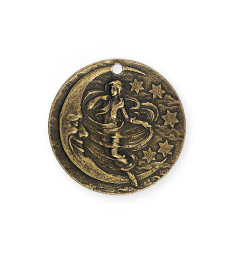 29mm, Woman in the Moon - Brass Antique Plated (3pcs)