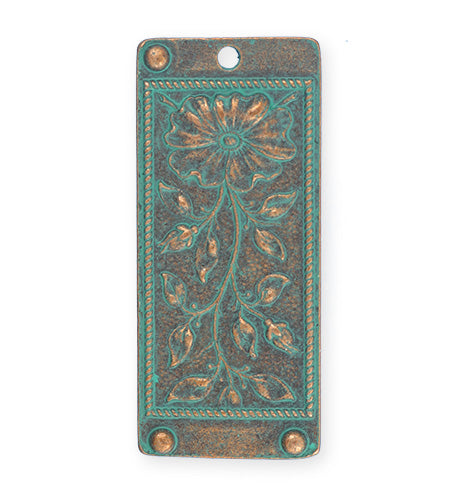 45x20mm, Floral Tapestry - Copper Verdigris Plated (3pcs)