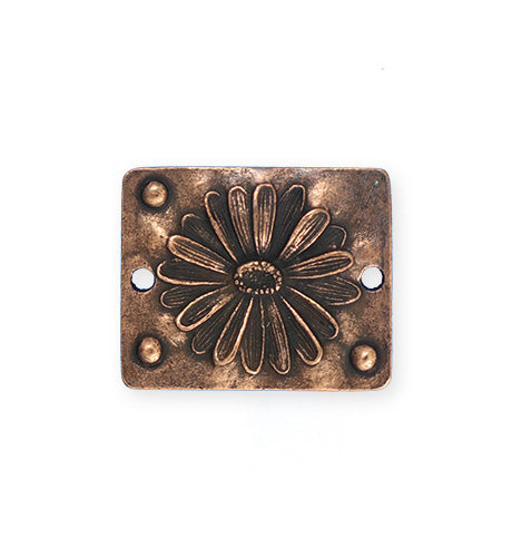 26x22mm, Pressed Daisy - Copper Antique Plated (3pcs)