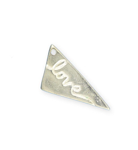 31x14mm, Love Pennant - Sterling Silver Plated (3pcs)
