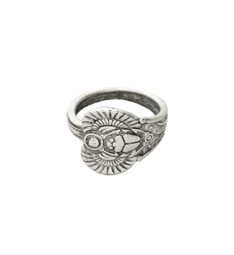 Size 8, Scarab Ring - Sterling Silver Antique (3pcs)