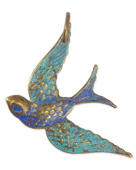 42x31.5mm Fanciful Bird - Natural Brass (4 pcs)