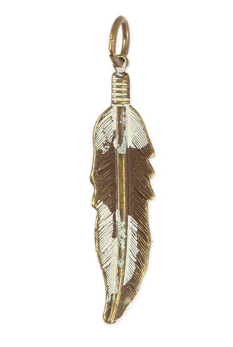 45x10.5mm Native Feather - Natural Brass (8 pcs)